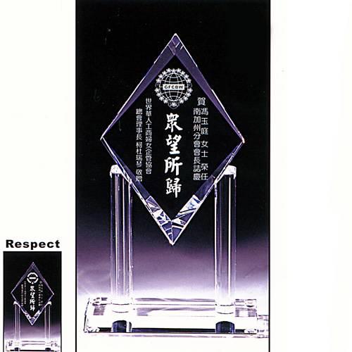 Respect水晶獎牌
